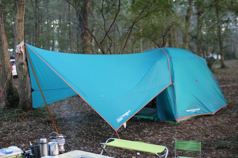 コールマンのテント ウインズライトドームで購入して試した5パターン(ヘキサタープと合わせて使用)設営方法・作り方の手順写真あり