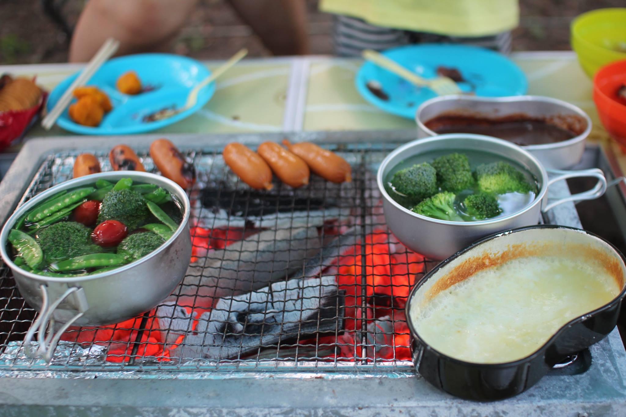富津公園キャンプ場チーズフォンデュ