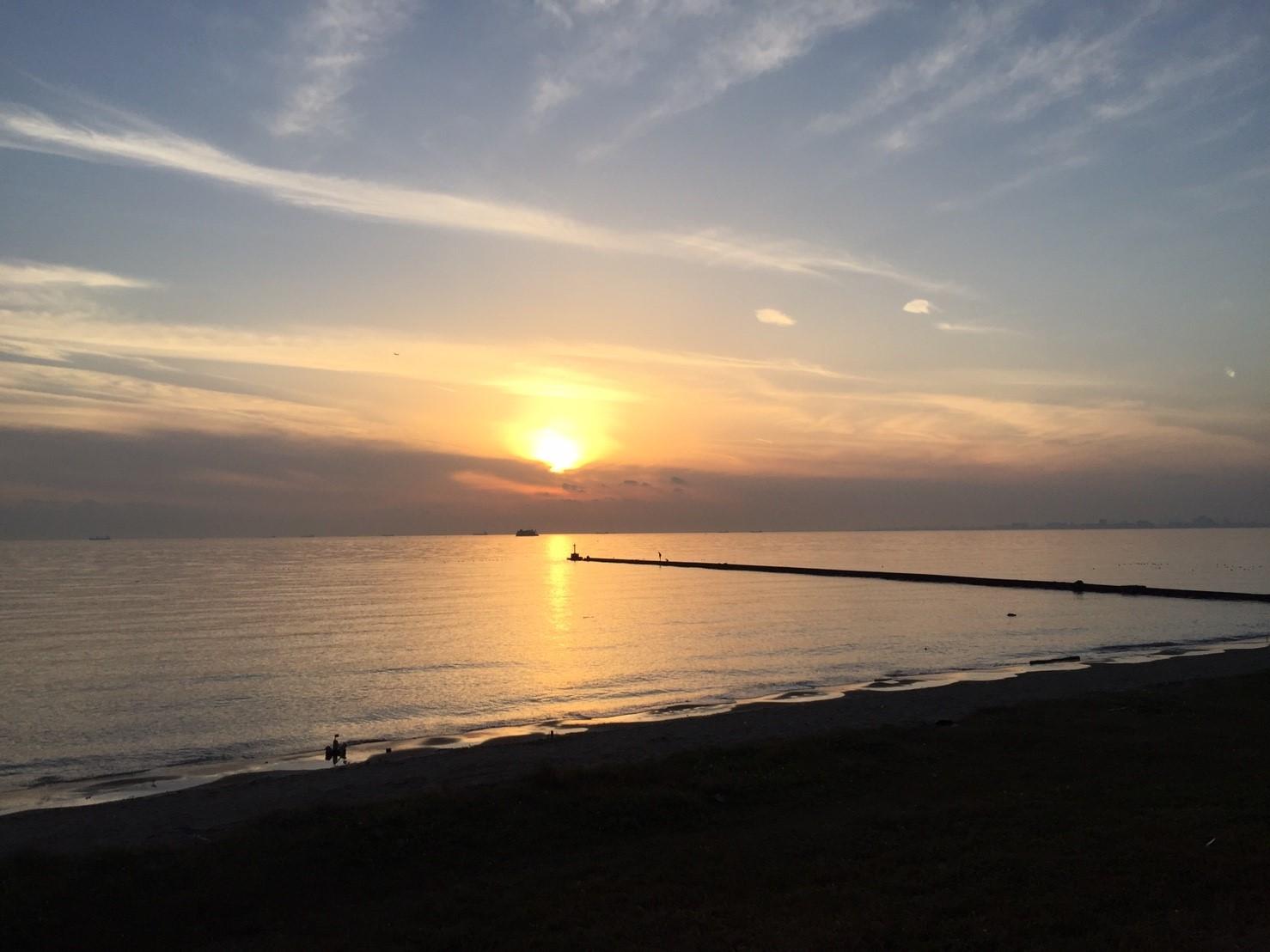 幕張海浜公園の夕日の写真