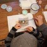 千葉県立房総の村で焼き物キーホルダー・千代紙ろうそくを体験(11月